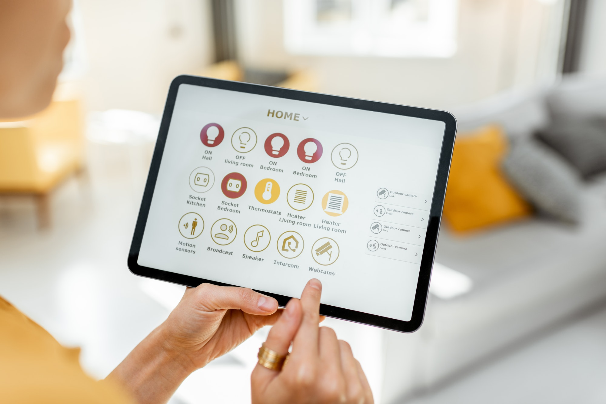Controlling smart home devices using a digital tablet